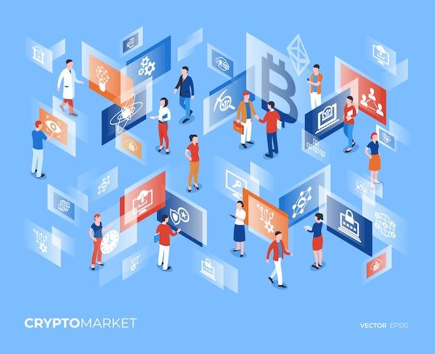 Infográficos de personagens de tecnologia de criptomoeda mercado