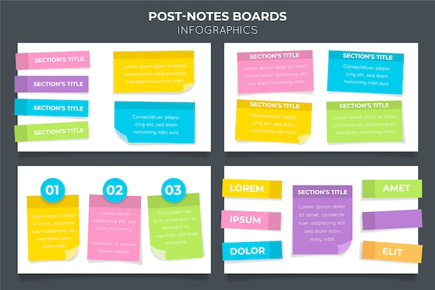 Infográficos de post-its em design plano