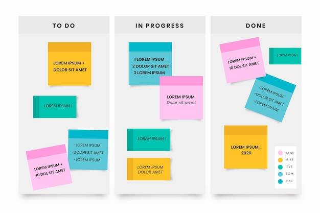 Infográficos de post-its em design plano