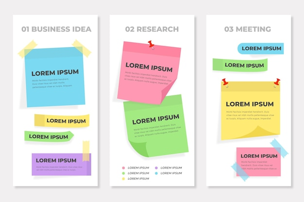 Infográficos de post-its planos