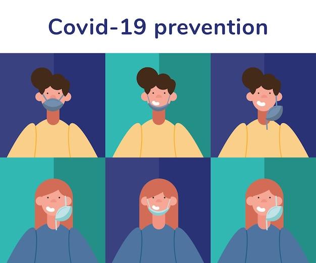 Infográficos de prevenção da covid19 com pessoas usando máscaras médicas e letras