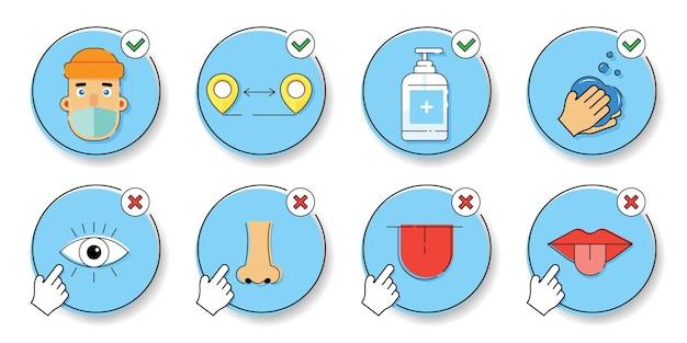 Infográficos de prevenção de doença coronavirus 2019-ncov com conceitos de ícones e texto, saúde.