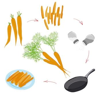 Infográficos de receita de cenoura vegetariana de cenoura e visualização de receita de vegetais