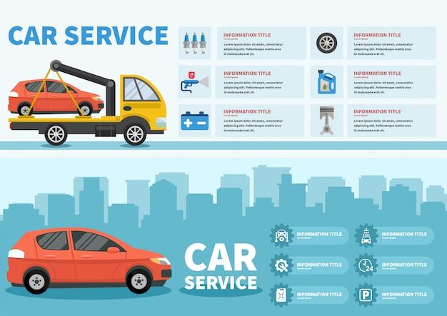 Infográficos de serviço de carro com imagem