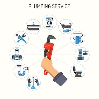 Infográficos de serviço de encanamento, como instalação, reparo e limpeza com encanador, ferramentas e dispositivo e a mão segura uma chave de encanador. ícones lisos de duas cores. ilustração isolada do vetor.