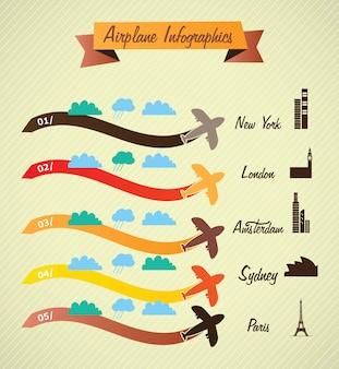 Infográficos de transporte informações de aeroporto cretro cores sobre fundo vintage