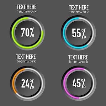 Infográficos de venda de empresas na web com botões redondos bordados coloridos e taxas percentuais