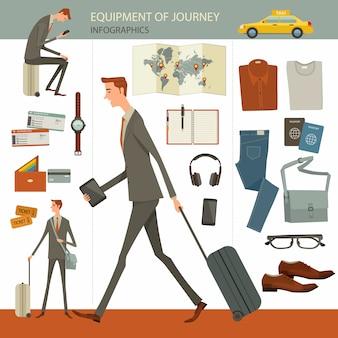 Infográficos de viagens de negócios e conceito de viagem
