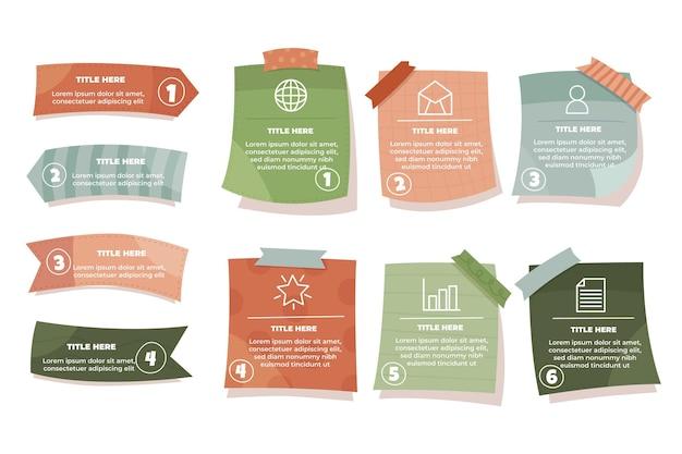 Infográficos desenhados à mão em placas de notas adesivas