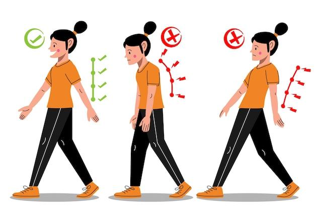 Infográficos desenhados à mão para correção de postura