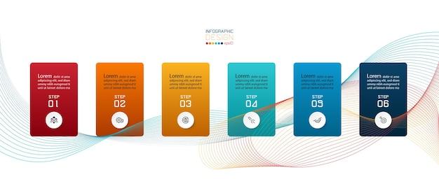 Infográficos design apresentação de 6 etapas.