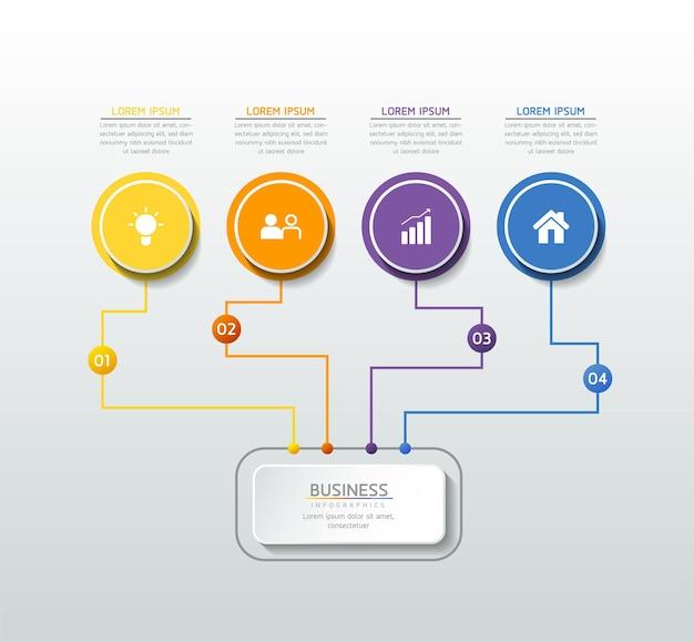 Infográficos design modelo gráfico de apresentação de informações de negócios com 4 opções ou etapas