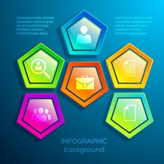 Infográficos digitais coloridos da web com hexágonos brilhantes e ícones de negócios
