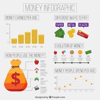 Infográficos dinheiro com gráficos e estatísticas