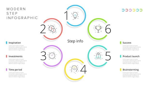 Infográficos do gráfico de processos de negócios com 4 círculos de etapas