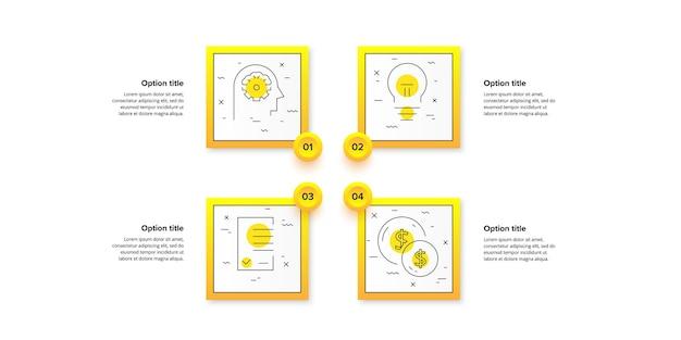 Infográficos do gráfico de processos de negócios com 4 etapas