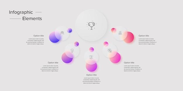 Infográficos do gráfico de processos de negócios com 5 círculos de etapas