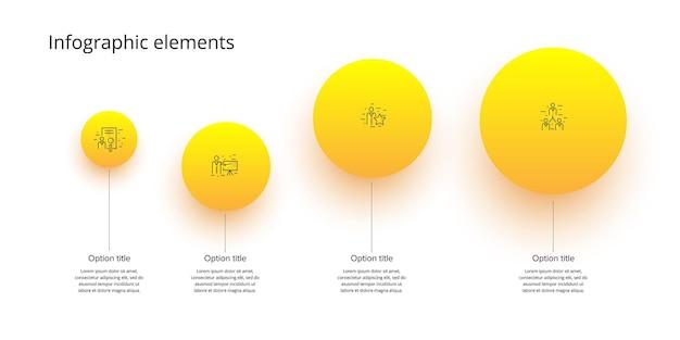 Infográficos do gráfico de processos de negócios com círculos de etapas