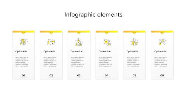 Infográficos do gráfico de processos de negócios com retângulos de 6 etapas