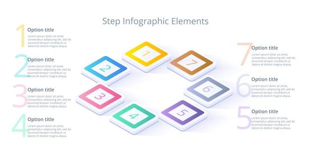 Infográficos do gráfico de processos de negócios com segmentos de 7 etapas