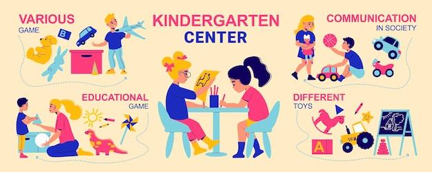Infográficos do jardim de infância com personagens de crianças brincando com ilustração de brinquedos