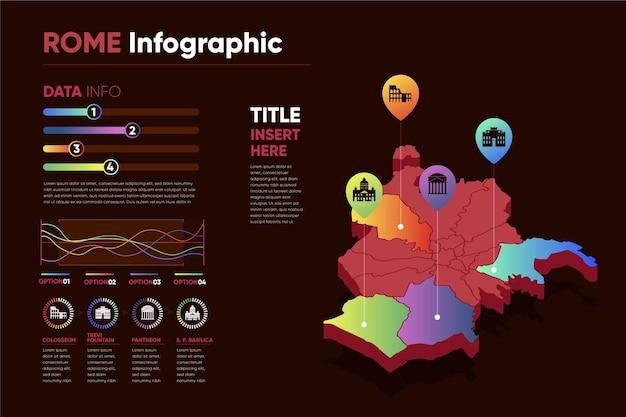 Infográficos do mapa colorido de roma com gradiente