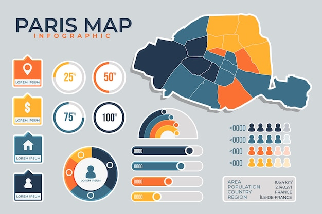 Infográficos do mapa de paris plana