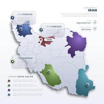 Infográficos do mapa do irã em estilo gradiente