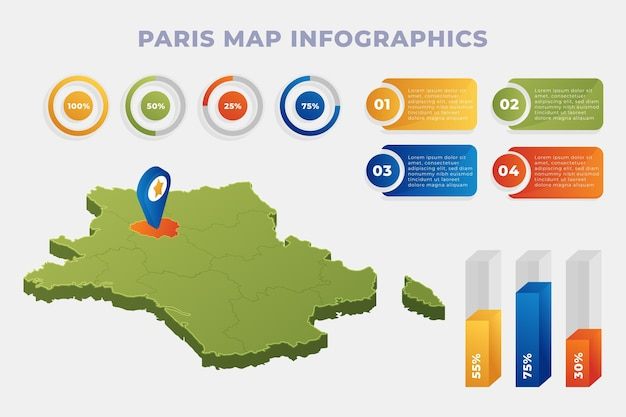 Infográficos do mapa isométrico de paris