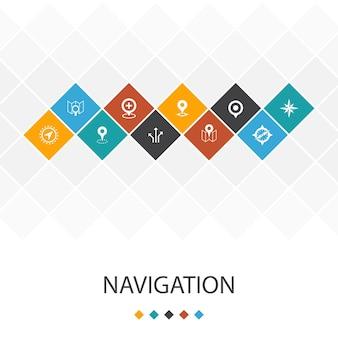 Infográficos do modelo de iu da moda de navegação concept.location, mapa, gps, ícones de direção