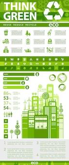 Infográficos ecológicos planos