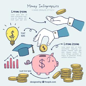 Infográficos economia desenhados mão