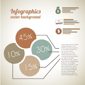 Infográficos econômicos sobre fundo vintage