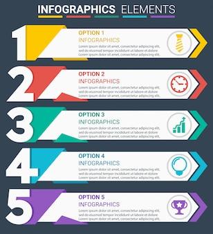 Infográficos elemento design o número cinco primeiros