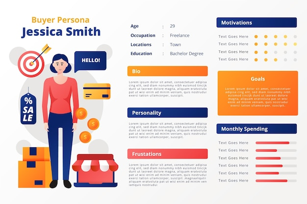 Infográficos gradiente de persona do comprador