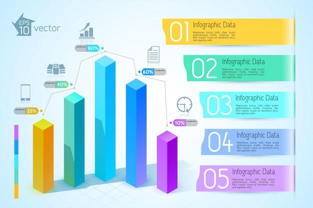 Infográficos gráficos de negócios abstratos com colunas quadradas 3d coloridas e cinco ícones de opções na ilustração de luz