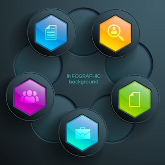 Infográficos gráficos de negócios na web com ícones, hexágonos brilhantes coloridos e botões redondos escuros