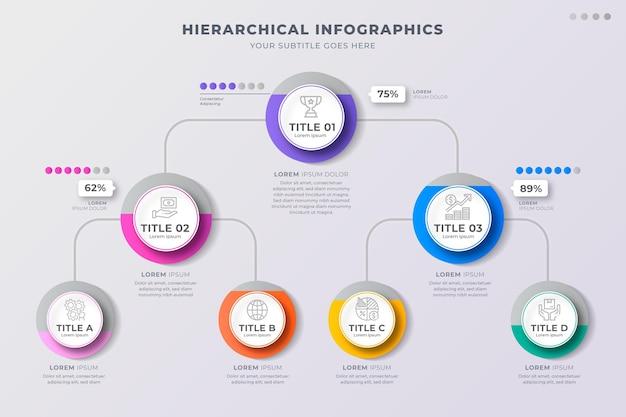 Infográficos hierárquicos de negócios