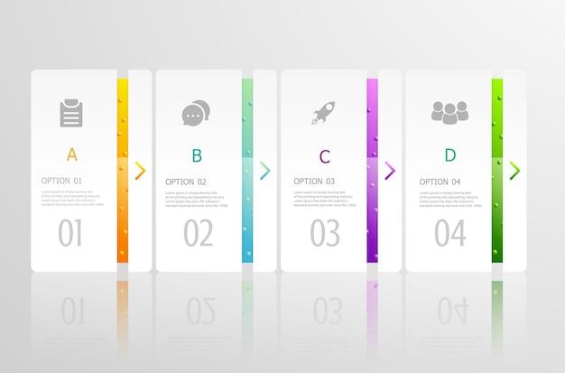 Infográficos horizontais 4 etapas