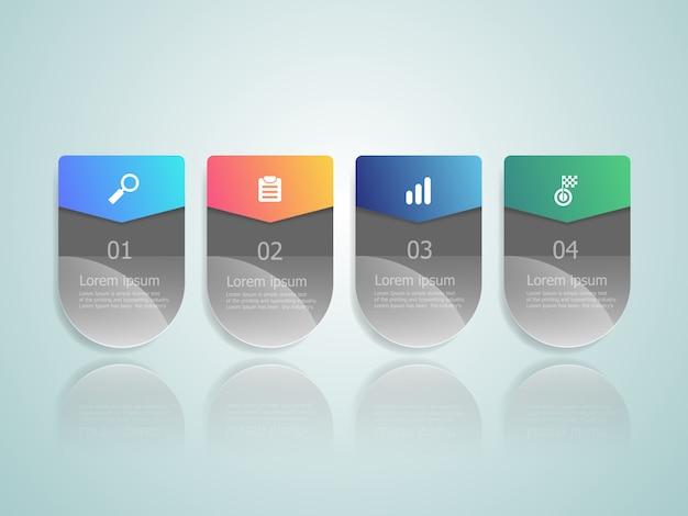Infográficos horizontais quatro etapas