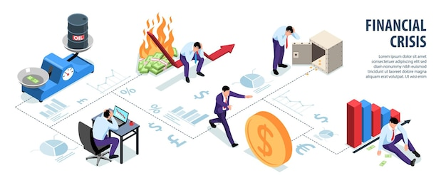 Infográficos isométricos da crise financeira mundial com silhuetas de texto editável de gráficos e ilustração de personagens de empresários infelizes