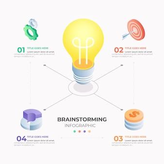 Infográficos isométricos de brainstorming