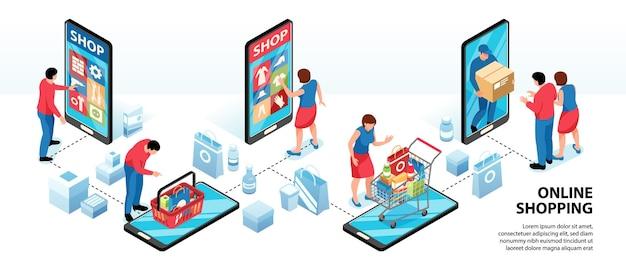 Infográficos isométricos de compras online