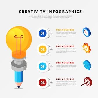 Infográficos isométricos de criatividade