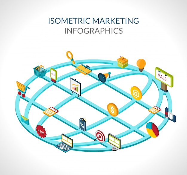 Infográficos isométricos de marketing