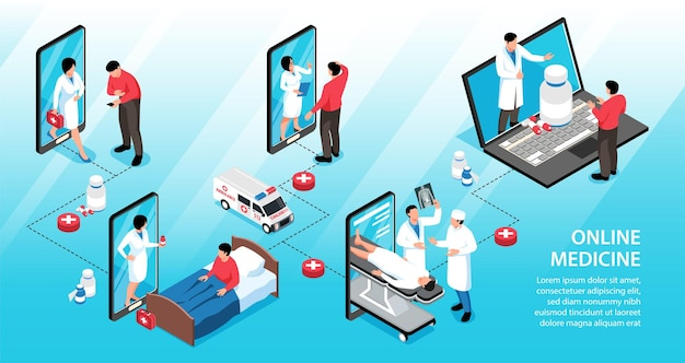 Infográficos isométricos de medicina online