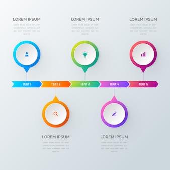 Infográficos lineares com cinco etapas