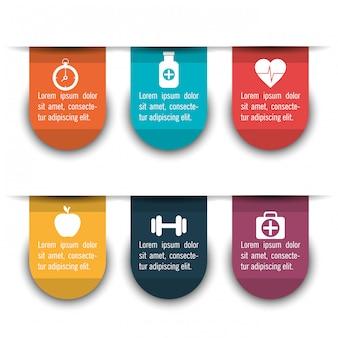 Infográficos médicos com seis opções