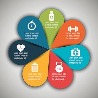 Infográficos médicos com sete opções
