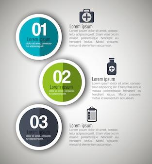 Infográficos médicos com três etapas